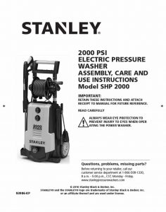 STANLEY SHP2000 Operating Manual